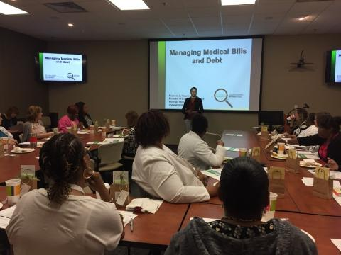 Berneta L. Haynes, Director of Equity and Access at Georgia Watch, presenting to staff at Northside Hospital about medical bills and debt.