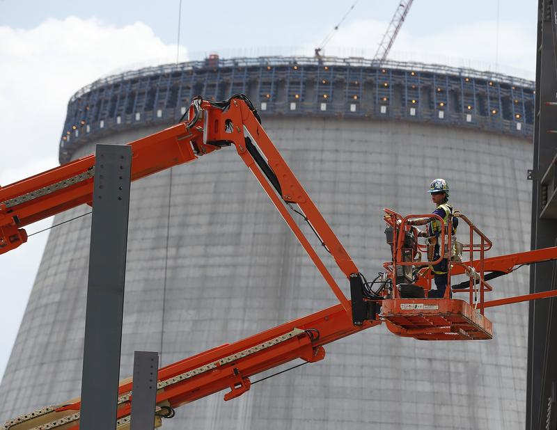 Reactor construction is shown in 2014 at Plant Vogtle in Waynesboro, Georgia. Georgia Power recommended to state regulators Thursday to keep construction going. (AP Photo/John Bazemore)