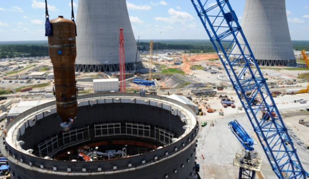 A 1.4 million pound steam generator is installed at the Plant Vogtle Unit 3 nuclear reactor. Photo Courtesy of Savannah Morning News